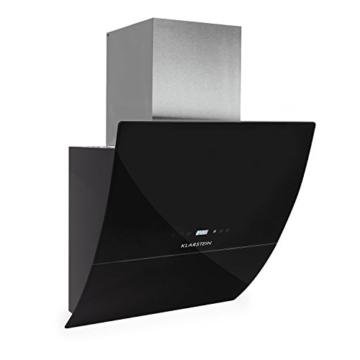 Klarstein RGL60BL Dunstabzugshaube Abzugshaube Wandhaube (kopffrei, 60cm, 550m³/h Abluftleistung, 3 Leistungsstufen, LED, Touch-Armatur, Glas-Front, Fernbedienung) schwarz -
