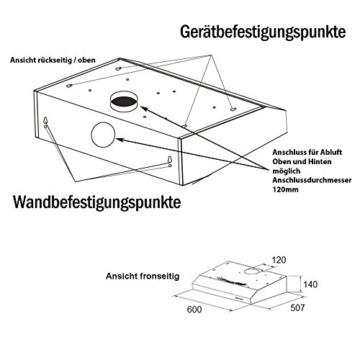 NEG Dunstabzugshaube NEG15 (silber) Edelstahl-Unterbau-Haube (Abluft/Umluft) mit LED-Beleuchtung, 60cm für Unterschrank- oder Wandanschluss -