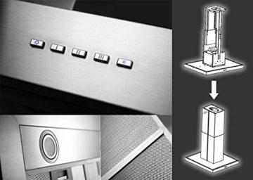 NEG Dunstabzugshaube NEG36 (Abluft) Edelstahl-Inselesse mit LED-Beleuchtung, 90cm, Motorleistung 850m³/h sehr leise -